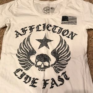 Affliction baby doll tee, white, large